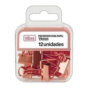 12 Prendedores de Papel 19 mm Rose - unitário - Tilibra