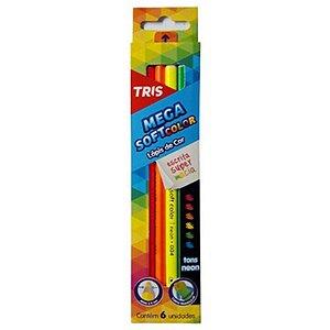 6 Lápis de Cor Mega Soft Tons Neon - unitário - Tris