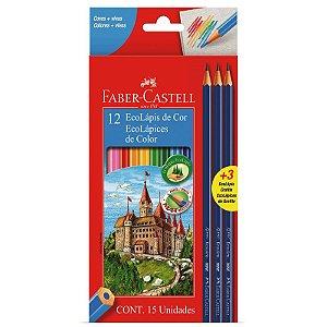12 Lápis de Cor + 3 lápis Pretos EcoLápis - unitário - Faber-Castell