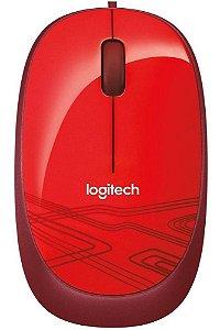 Mouse Com Fio Logitech M105 Usb Optico Vermelho