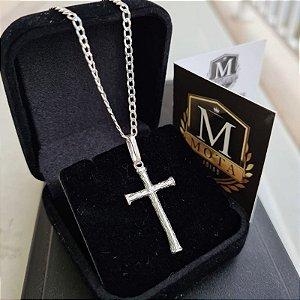 Pingente Prata 925 Crucifixo Texturizado
