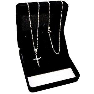 Corrente Tijolinho Prata 925 (1,5mm) 70cm + Pingente Crucifixo