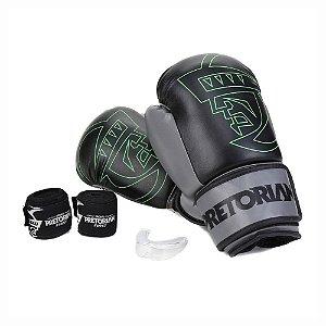 Luva Kit Boxe/Muay Thai Pretorian Preto/Cinza 12 Oz