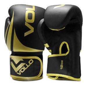 Luva de Boxe/Muay Thai Vollo Preta/Dourada 12 Oz Training Lançamento