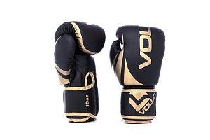 Luva de Boxe/Muay Thai Vollo Preta/Dourada 10 Oz Lançamento