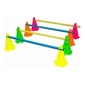 Cones com Barreiras - 8 cones com 4 Barreiras - Kit Agilidade