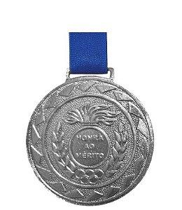 Medalha de Prata M50 Esportiva Honra ao Mérito Com Fita Azul Crespar