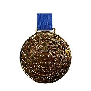 Medalha de Bronze M50 Esportiva Honra ao Mérito Com Fita Azul Crespar