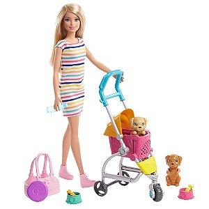 Boneca Barbie - Barbie Sisters & Pets - Carrinho De Cachorrinhos - Mattel