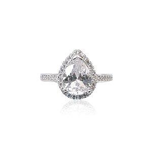 Anel Solitário Cravejado em Zircônia Diamante Gota em Prata 925