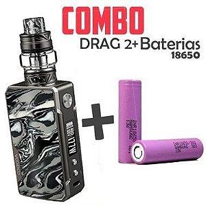 COMBO VAPE - 1 Kit Drag 2 177w Voopoo + 2 baterias 30Q