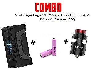 Combo mod Aegis Legend 200w Com 2 Baterias Com Atomizador Blitzen RTA - Geekvape