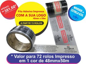 Fita Adesiva Personalizada Impressa em 1 cor 48mm x 50m