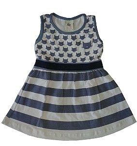 Vestido Bebe Feminino Gatinho Alekids G