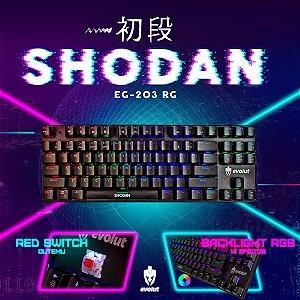 Teclado Gamer Evolut Mecânico Shodan PRO LED RGB RED Switch EG-203
