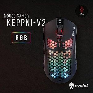 Mouse Gamer Evolut KEPPNI-V2 Usb Led RGB 12000 DPI EG-111