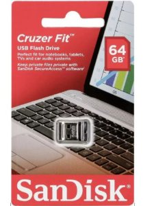 PEN Drive Sandisk Cruzer FIT 64gb USB 2.0 Preto - Sdcz33-064g-g35