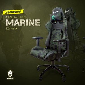 Cadeira Gamer Evolut MARINE Camuflada - EG-950 - 150KG