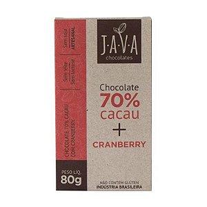 CHOCOLATE JAVA 70% CACAU COM CRANBERRY 80G