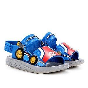 Sandalia Super Mario Kart Cinza/azul