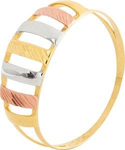 Anel Estampado Tricolor Ouro 18k 750