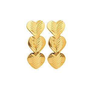 Brinco Trio corações Ouro 18K 750