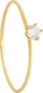 Anel solitário Ouro 18k 750 zircônia