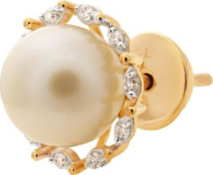 Brinco Pérola e Diamantes Ouro18K 750