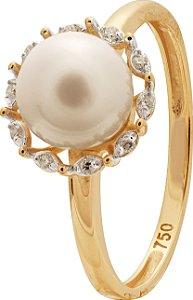 Anel Pérola e Diamantes Ouro 18K 750