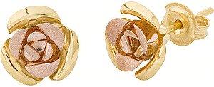 Brinco Flor Bicolor Ouro18K 750