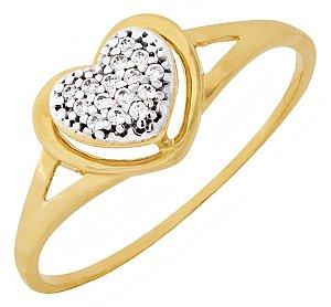 Anel Coração Duplo com Zircônia Ouro 18k 750