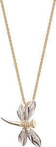 Gargantilha Libelula Bicolor Ouro 18k 750