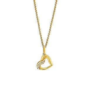 Gargantilha Coração Vazado Com Zircônia Ouro 18k 750