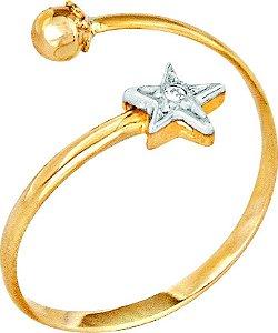 Anel Falange Estrela Ouro 18k 750