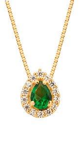 Gargantilha Gota Zircônia Verde Ouro 18k 750
