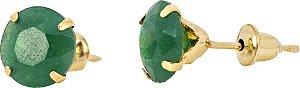 Brinco Pedra Natural Jade Verde Ouro 18k 750