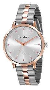 Relógio Mondaine Feminino Redondo Prata Rose 53659lpmvge4