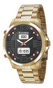 Relógio Mondaine Masculino Redondo Dourado 99355gpmvds2