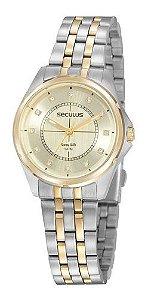 Relógios Seculus  Feminino Redondo Champagne 20896lpsvba3