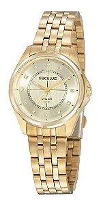 Relógios Seculus  Feminino Redondo Champagne 20896lpsvda1