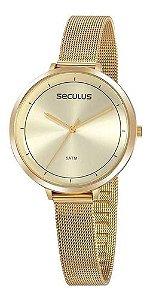 Relógios Seculus  Feminino Redondo Champagne 20934lpsvds2