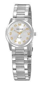 Relógios Seculus  Feminino Redondo Prata 20954l0svna1