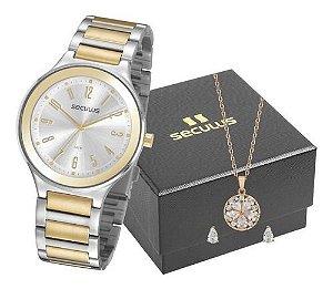 Relógios Seculus  Feminino Redondo Prata 77074lpsvbs2k1