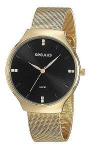 Relógios Seculus  Feminino Redondo Preto 77076lpsvds1