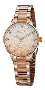 Relógios Seculus  Feminino Redondo Rose Gold 77070lpsvrs1