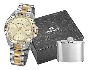 Relógios Seculus  Masculino Redondo Champagne 20801gpsvba1k1