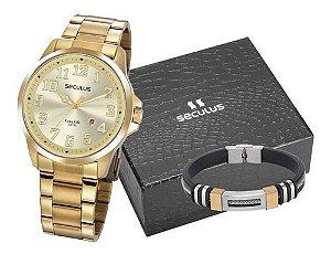 Relógios Seculus  Masculino Redondo Champagne 20856gpsvda1k1
