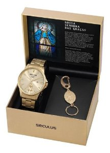 Relógios Seculus  Masculino Redondo Champagne 35028gpskda1k1