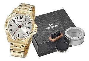Relógios Seculus  Masculino Redondo Prata 20900gpsvda1k1