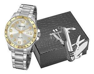 Relógios Seculus  Masculino Redondo Prata 20928g0svna1k1